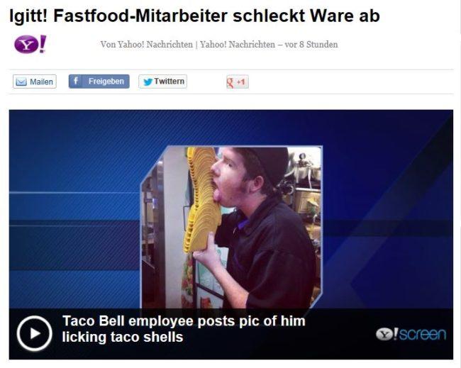 Ekelalarm: Mitarbeiter schleckt Tacos ab und stellt Foto auf Facebook