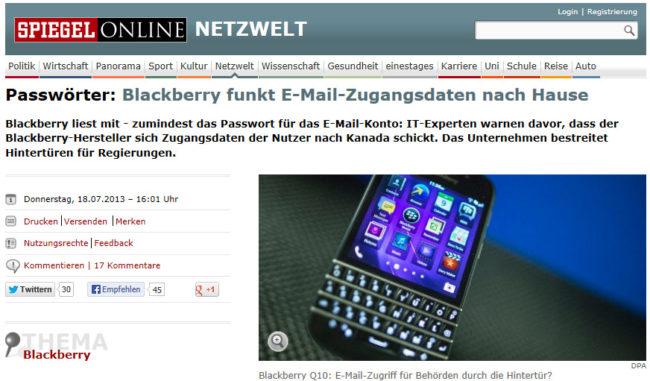 Ist Blackberry doch nicht so sicher vor Datenschnüfflern?