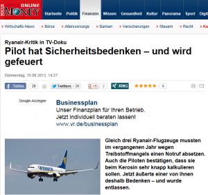 Ryanair lässt sich von Piloten-Gewerkschaft vorführen