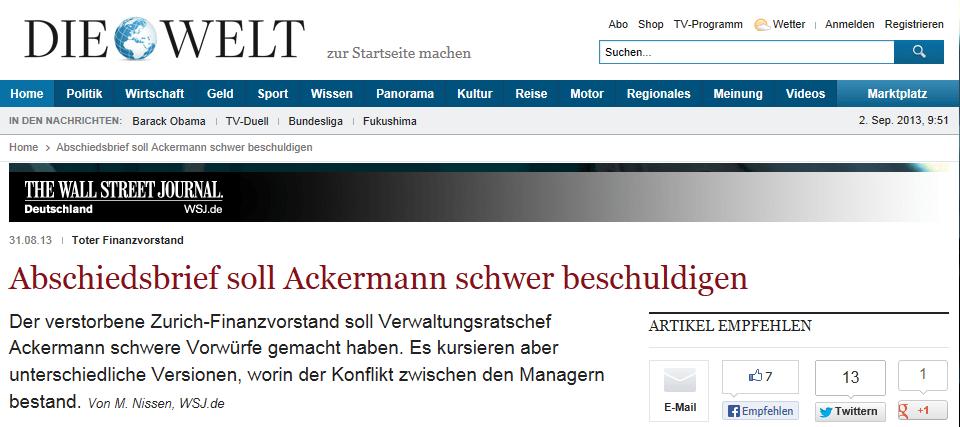 Ackermann: Tote haben immer Recht