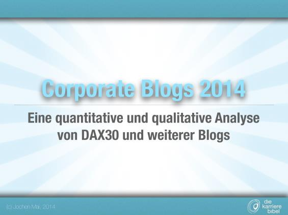 Titelseite Studie Corporate Blogs 2014