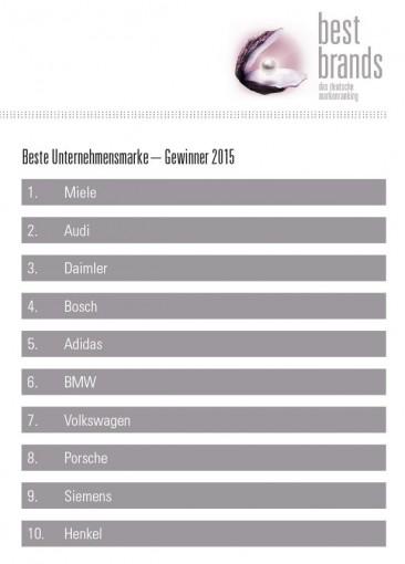 best brands Gewinner beste Unternehmensmarke