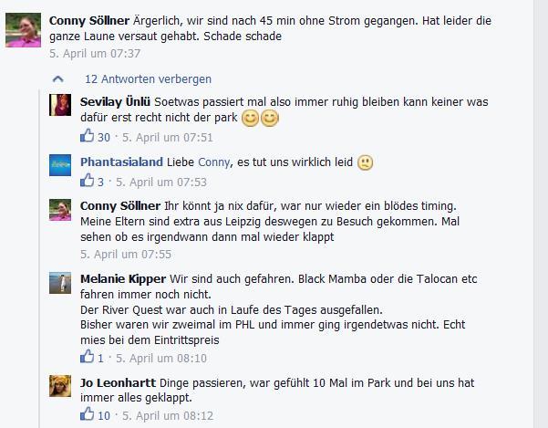Facebook Phantasialand Stromausfall 2 Laune versaut sorry