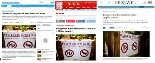Kräftige Presseresonanz: Der Düsseldorfer Biergarten ist jetzt bundesweit bekannt – als kinderfeindlich. (Screenshots ruhrnachrichten.de, mopo.de, welt.de)