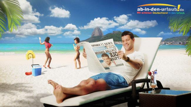 Pressebild ab-in-den-urlaub, Michael Ballack liest Zeitung am Strand von Rio