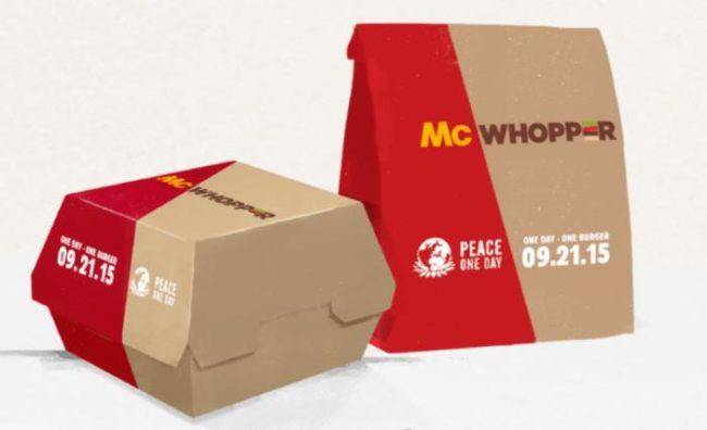 McWhopper-Verpackungen Designvorschlag von Burger King; Mischung aus McDonalds und Burger Kind-CI-Designs
