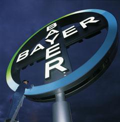 Presse-Foto: Arbeiter putzt Bayer-Kreuz (Logo)