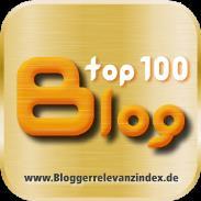 """Blogger-Relevanzindex Siegel """"top100 blog""""."""