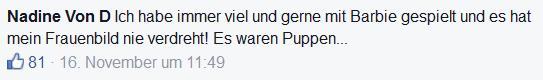"""Screenshot Facebook-Kommentar: """"Ich habe immer viel und gerne mit Barbie gespielt und es hat mein Frauenbild nie verdreht! Es waren Puppen..."""""""