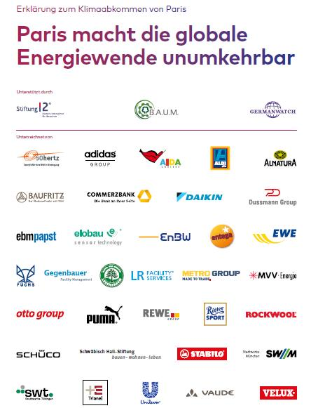 Titelblatt Erklärung zum Klimaabkommen mit 34 Unternehmenslogos