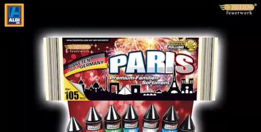 """Verpackung Aldi-Feuerwerk """"Paris"""" oben"""