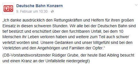 Krisenkommunikation der Deutschen Bahn auf Facebook