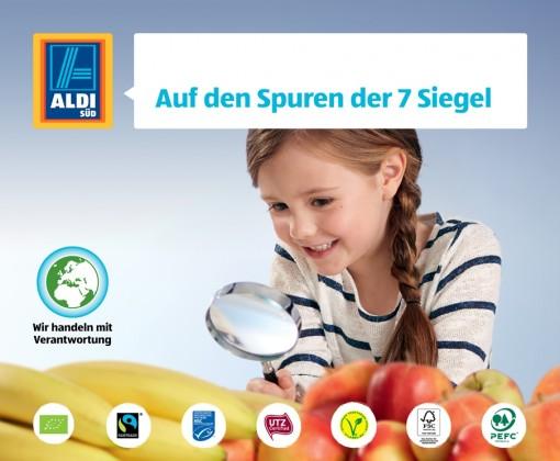 Aldi Süd Pressbild: Kind schaut durch Lupe auf Siegel