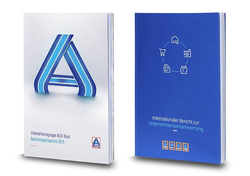 Titelbilder der Nachhaltigkeitsberichte von Aldi Nord und Aldi Süd