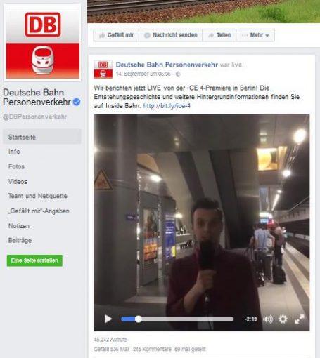 Screenshot des ICE-4-Videofail von der Facebookseite von DB Personenverkehr