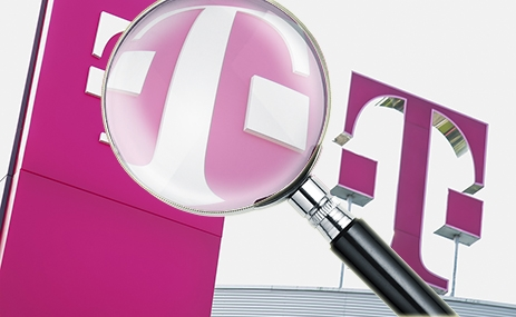Telekom-Pressebild: Lupe über Telekom-Logo