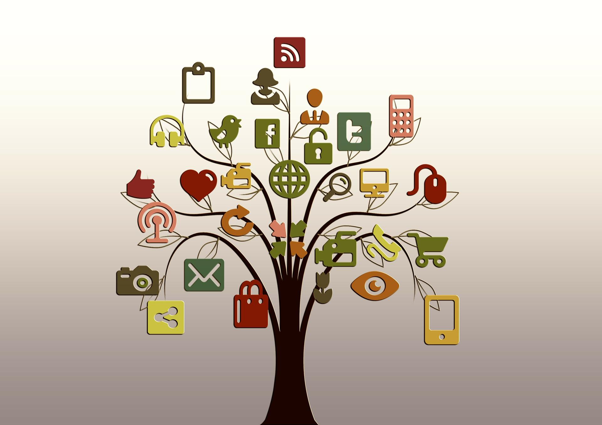 Visualisierung Social Listening: Baum mit Symbolen für Blogs, Twitter, Smartphones, etc.