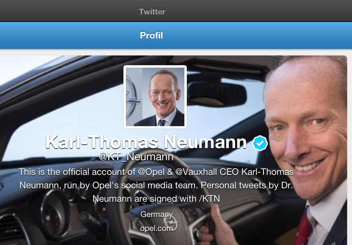 Pressebild Opel Screenshot Twitter-Account Opel