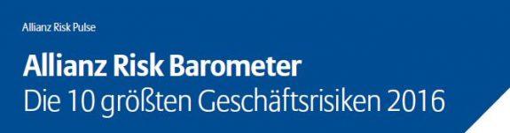Titelschriftzug vom Allianz Risk Barometer 2016