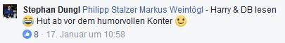 "Screenshot Facebook-Kommentar: ""Harry & DB lesen Hut ab vor dem humorvollen Konter"""