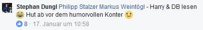 "Screenshot Facebook-Kommentar: ""Harry & DB lesen Hut ab vor dem humorvollen Konter"""