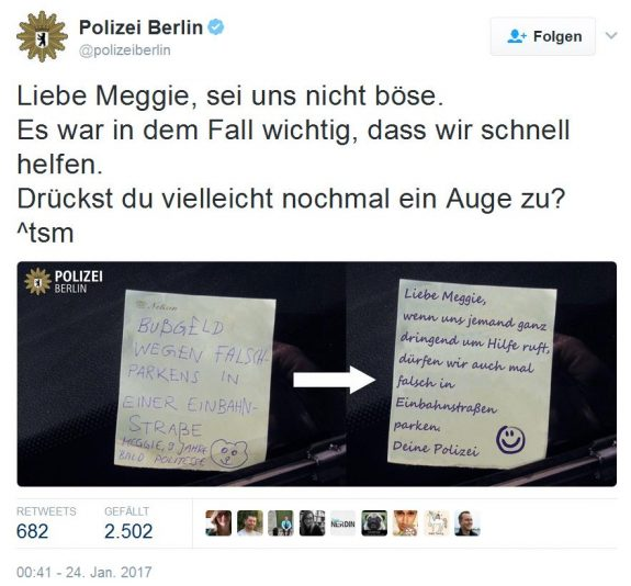 Screenshot Kinderstrafzettel Twitter Polizei Berlin
