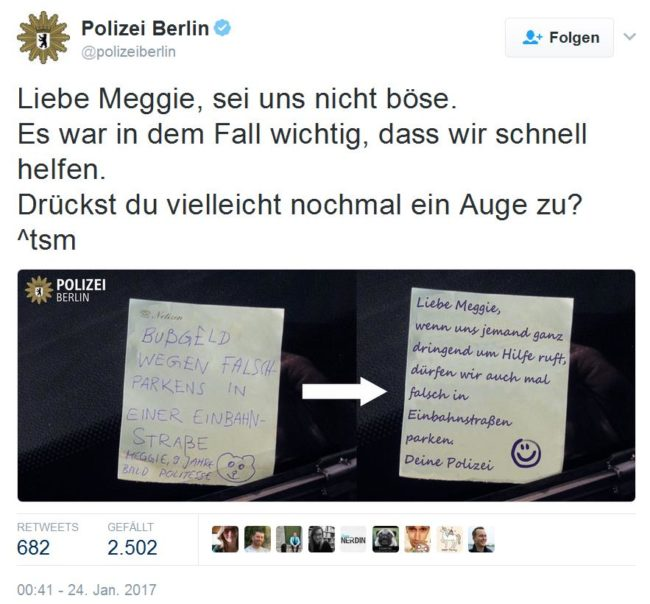 Screenshot Kinderstrafzettel Twitter Polizei Berlin