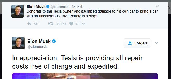 Gut für Teslas Reputation: Screenshot Twitter Musk's Tweet zu Retter mit Tesla auf A9