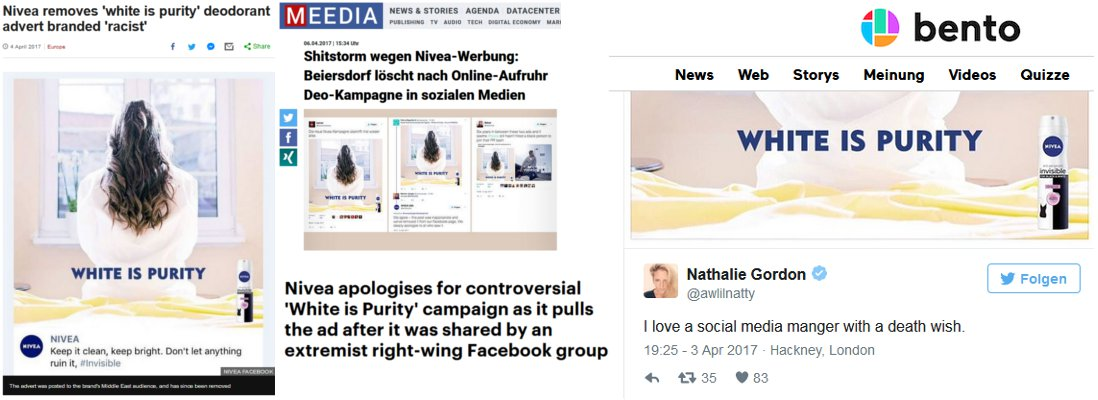 "Nicht gut für die Reputation: Screenshots Medienresonanz Nivea ""White is Purity""-Werbung"