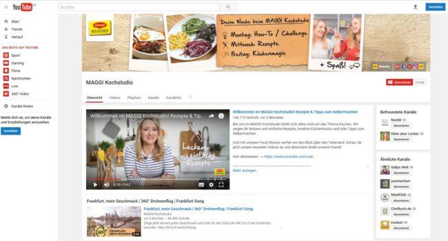 Maggi Kochstudie YouTube Kanal