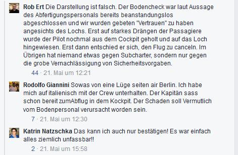 Screenshot Facebook Air Berlin Loch im Flugzeug Diskussion