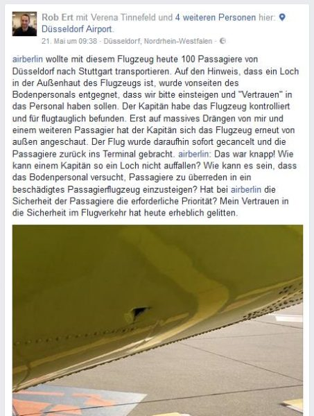 Screenshot Facebook Air Berlin Loch im Flugzeug Post