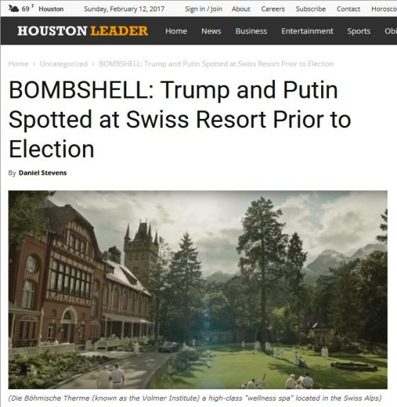 "Screenshot des ""Houston Leaders"" mit Fake News zu Trump und Putin in einem ""Swiss resort"" als Marketing für den Film ""A Cure for Wellness"""