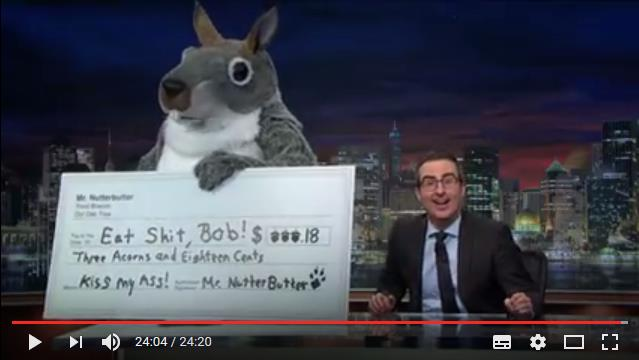 Screenshot Youtube John Oliver with Squirrel talking to Robert Murray telling him Eat Shit Bob from Last Week Tonight