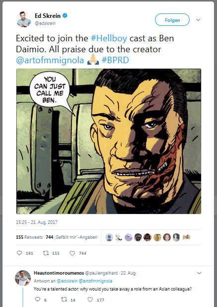 Screenshot Twitter Ed Skrein announces Hellboy-Role Ben Daimio