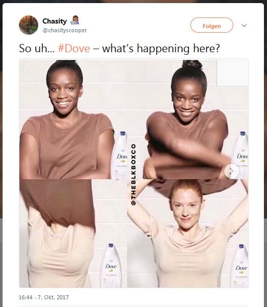 Screenshot Twitter Dove Werbung schwarz zu weiß
