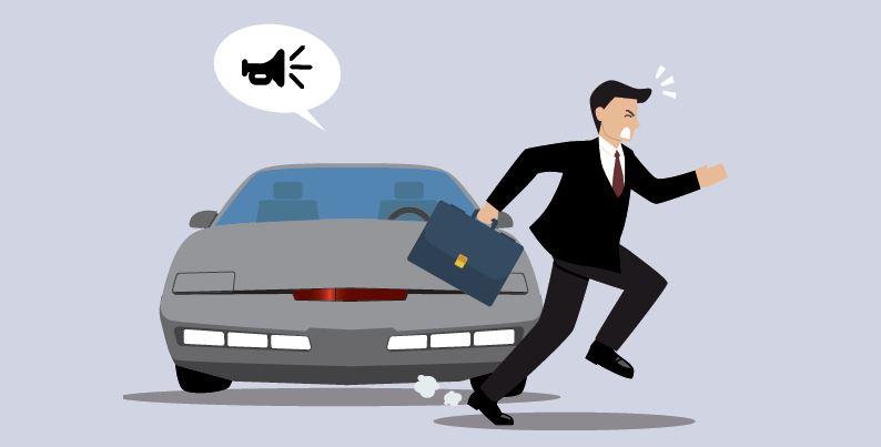 Ausschnitt Autonomes Fahren Infografik Künstliche Intelligenz IMWF - Fahrerloses Auto hupt Fußgänger aus dem Weg